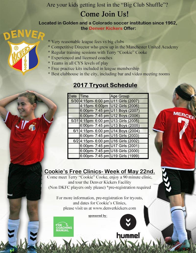 Denver Kickers Tryout Flyer